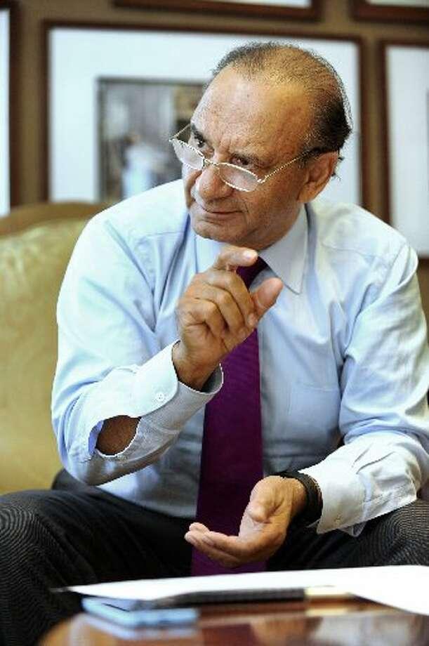 Farooq Kathwari, CEO of Ethan Allen, discusses his company's business at Ethan Allen's Danbury headquarters.