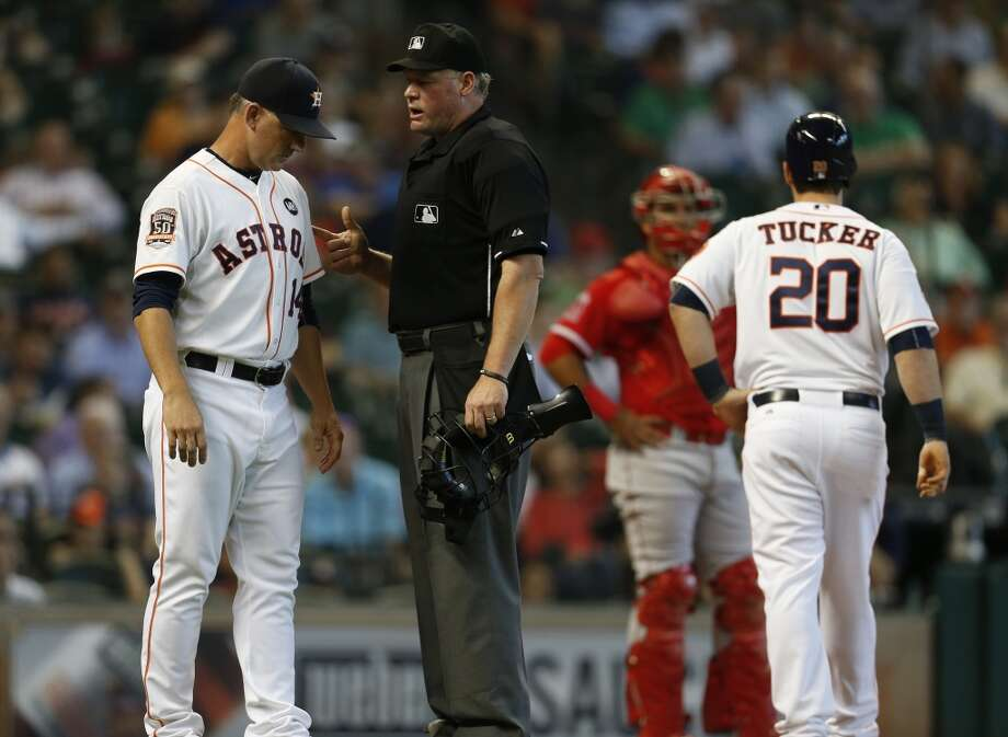 Umpire Ted Barrett is the crew chief for this week's ALDS between the Astros and the Red Sox. Photo: Karen Warren, Houston Chronicle