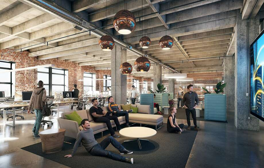 Uber has purchased Oakland's moribund Sears building and will open an East Bay global headquarters there in 2017, here is a rendering of the open office space. Photo: Steelblue And Gensler