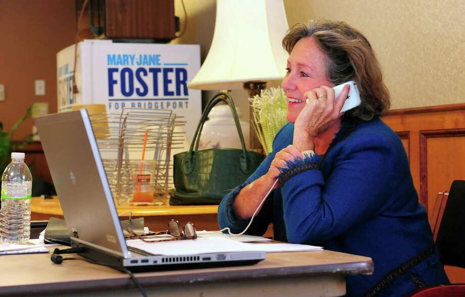 Mary-Jane Foster does work at her election headquarters on Fairfield Avenue in Bridgeport, Conn., on Wednesday Sept. 23, 2015. Photo: Christian Abraham / Hearst Connecticut Media / Connecticut Post