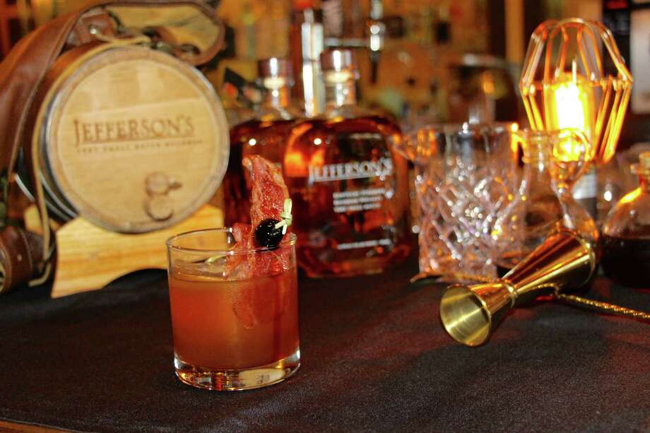 A slice of turkey bacon garnishes The Smokey Jefferson at The Edison Experiment. Photo: Courtesy Photo