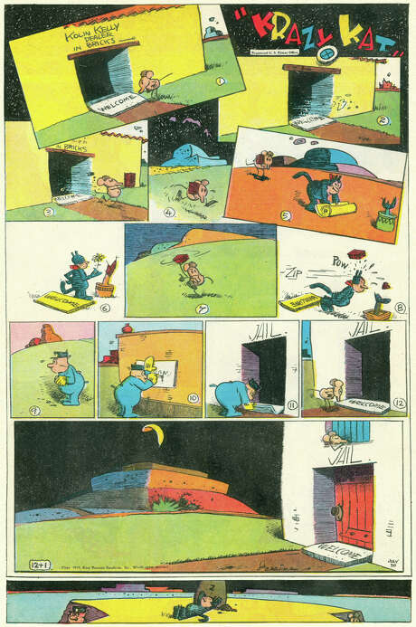 Krazy Kat (1910 – 1944) by George HerrimanThe story of a strange cat who loved to be hit by flying bricks, a mouse that loved to throw them and a police dog that did his best to prevent it. Absurd and brilliant, many consider George Herriman's Krazy Kat the very best example of comic art ever.