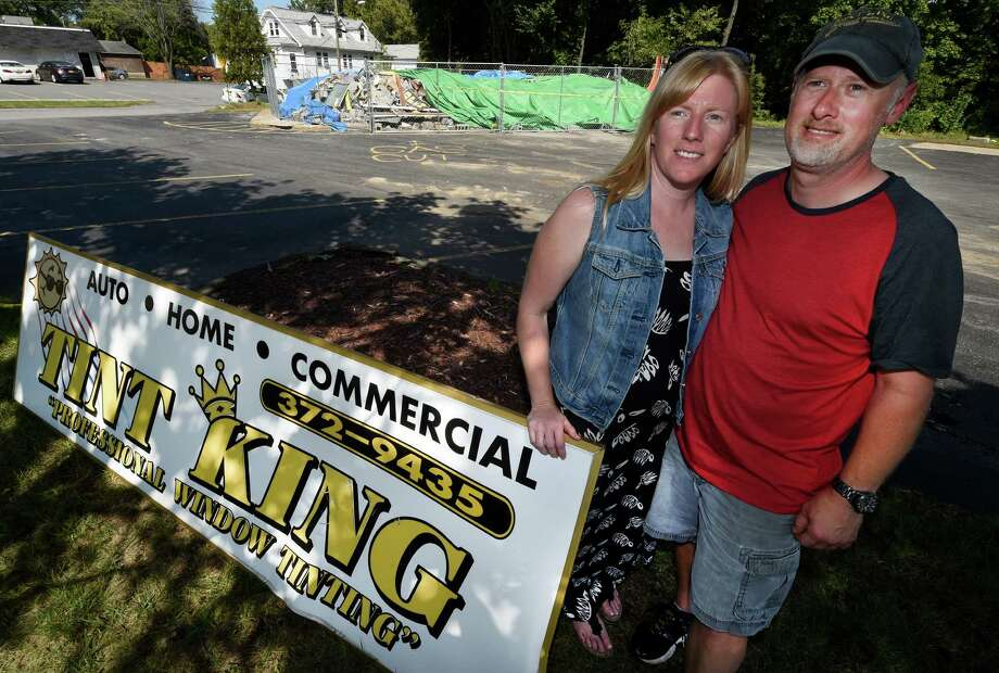 Sandy and David Zal stand in front of their former business location on Central Avenue Wednesday Sept. 16, 2015 in Colonie, N.Y. (Skip Dickstein/Times Union) Photo: SKIP DICKSTEIN / 00033388A