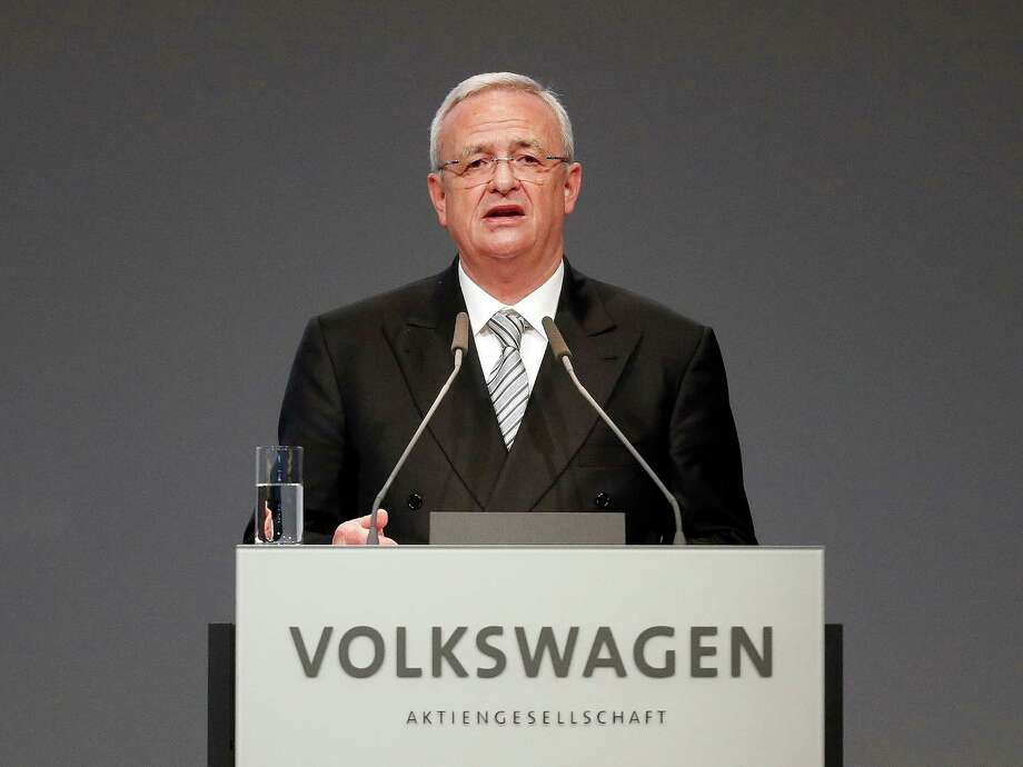 "FILE - In a Tuesday, May 5, 2015 file photo, Volkswagen CEO Martin Winterkorn addresses the shareholders during the annual shareholder meeting of the car manufacturer Volkswagen in Hannover, Germany. Winterkorn on Wednesday, Sept. 23, 2015 said he is stepping down ""in the interests of the company"" as it grapples with the scandal over Volkswagen's evasion of U.S. emissions controls. (AP Photo/Frank Augstein, File) ORG XMIT: NYBZ160 Photo: Frank Augstein / AP"