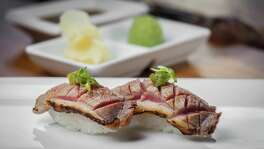 NOTE: THIS PHOTO IS FOR TOP 100 RESTAURANTS GUIDE. DO NOT USE BEFORE 09/24/2015. Kuu: Seared duck breast nigiri Kuu restaurant's seared duck breast nigiri. Photographed, Tuesday, July 14, 2015, in Houston. ( Nick de la Torre )