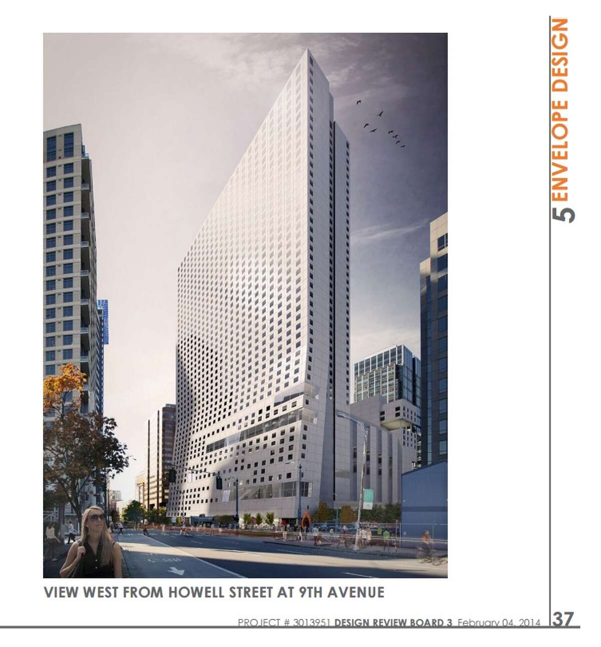 807 Stewart St. This site is planned for a 41-story hotel that will include underground parking for 700 vehicles and 150 to 160 affordable housing units. A demolition permit for the existing structure was issued earlier this year.
