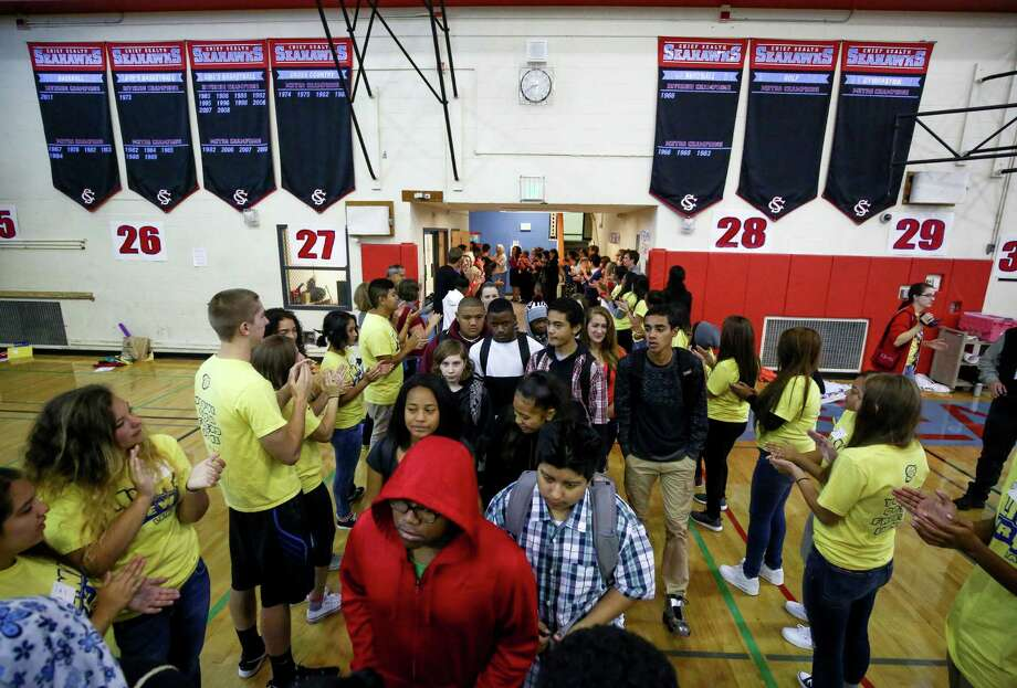 Freshmen are welcomed to Chief Sealth International School during the first day of classes on Wednesday, September 23, 2015. The return to class followed a strike by Seattle teachers.  Despite the acrimony of the strike, Seattle voters on Tuesday were overwhelming endorsing operations and capital levies for Seattle Schools.  Photo: JOSHUA TRUJILLO, SEATTLEPI.COM / SEATTLEPI.COM