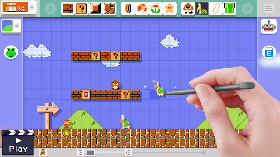"A screenshot from ""Super Mario Maker,"" the new Nintendo game for the Wii U, where players can create their own levels for the classic ""Super Mario Bros."" game. Photo: Courtesy Nintendo"