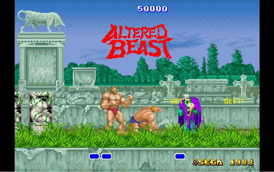 """Who wants to wolf out? Sega's 1988 arcade game """"Altered Beast"""" has players transform from buff Grecian centurions into buff werewolves or other beasts, as they punch and kick the undead in this side-scroller. Photo: Screenshot"""