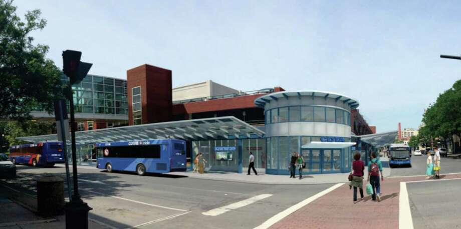 This is an image of a proposed transit center on the Fulton Street side of the Uncle Sam Parking Garage in Troy. (Image provided by CDTA)