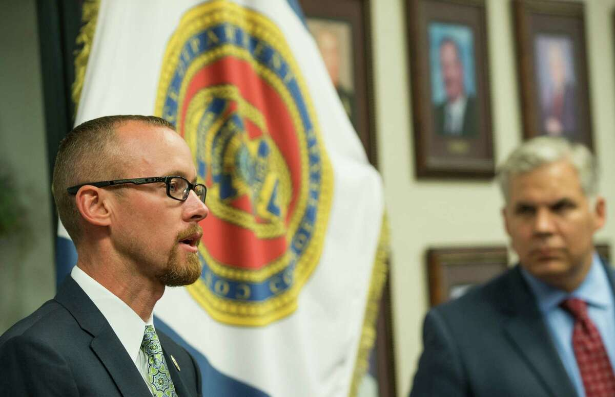 Tyler Dunman, chief prosecutor Montgomery County District Attorney's office, speaks during a news conference announcing the arrest of Dr. Rezik Saqer on Wednesday, Sept. 23, 2015, in Conroe. Montgomery County prosecutors said Wednesday that Saqer, a pain medicine doctor, has been arrested
