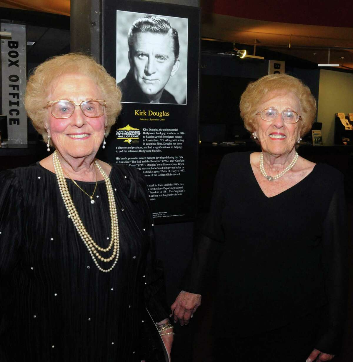 Twins, Fritzi Becker, of Albany N.Y. and Ida Sahr, of Schenectady, sisters of Kirk Douglas, attend the Proctors Capital Region Hall of Fame induction Sept. 20, 2008. (James Goolsby/Times Union archive)