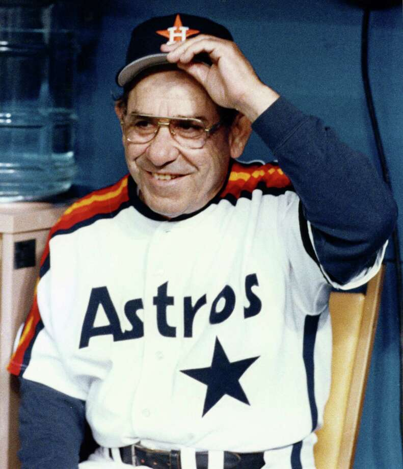 Yogi Berra's last year of a Hall of Fame major league career was spent as bench coach for the Astros in 1989. Photo: John Makely, HP Staff / Houston Post files