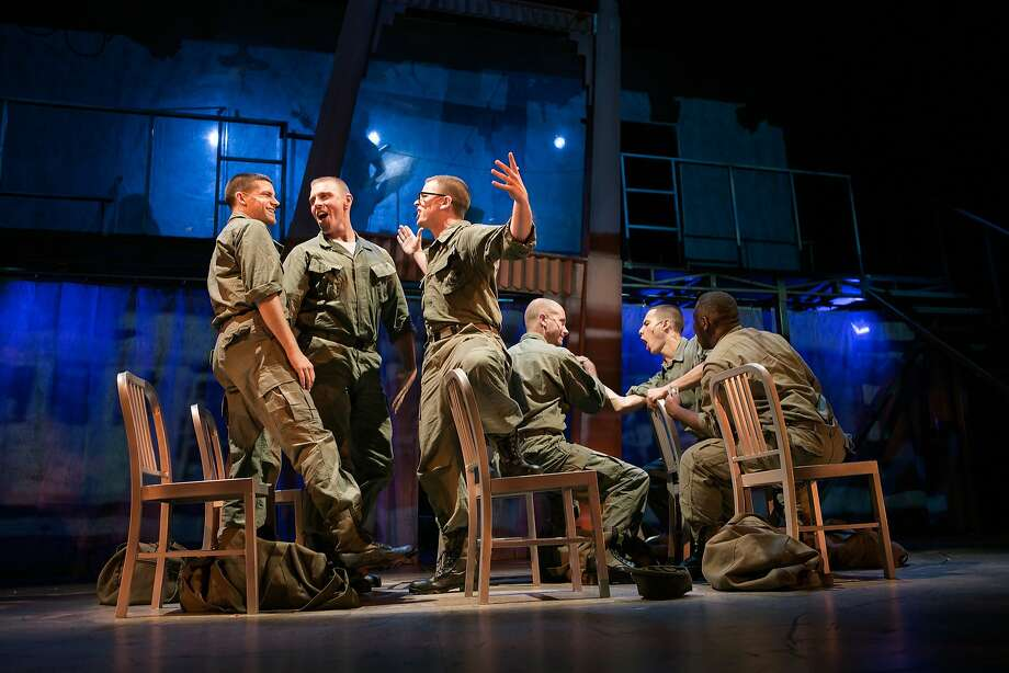 "Marines get ready for a night on the town in ""Dogfight"" at San Francisco Playhouse. Photo: Jessica Palopoli"