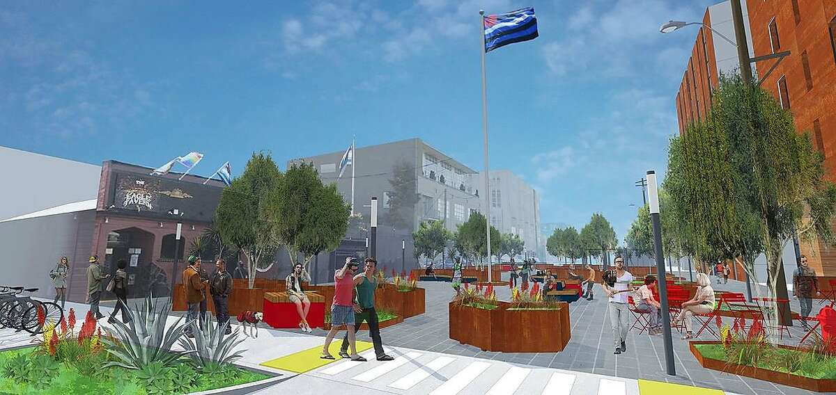 An artists rendering of Eagle Plaza, a proposed leather-themed public space in San Francisco's South of Market area that, on Monday Sept. 21, was awarded funding to move forward.