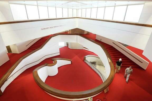 The Alley Theatre has completed its first major renovation since its opening, boasting bold red carpet and a sweeping staircase.