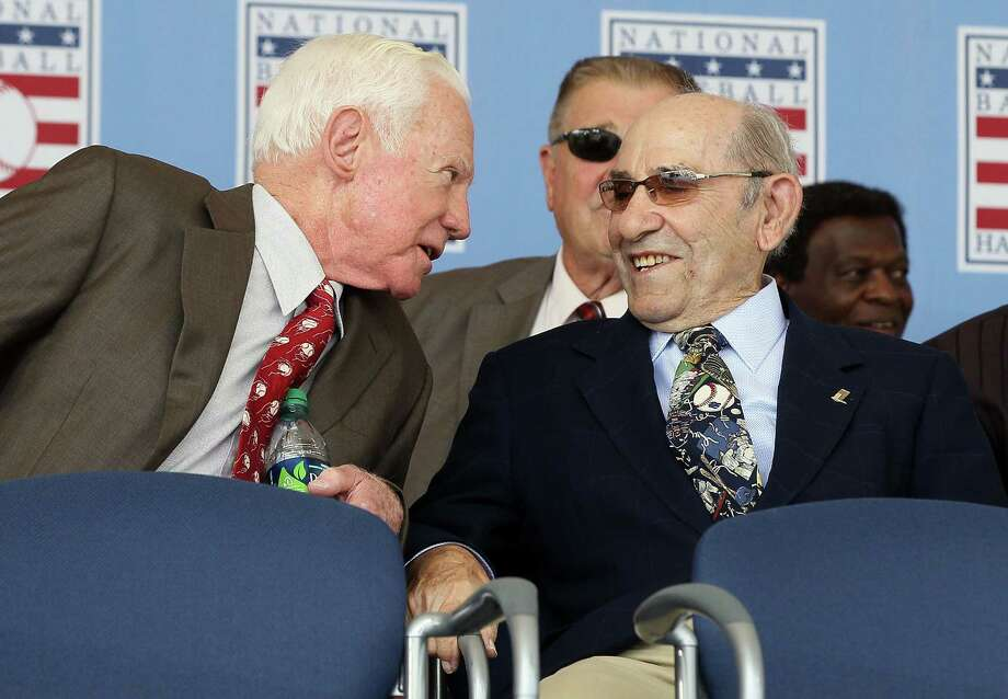 COOPERSTOWN, NY - JULY 24:  Hall of Famers (L-R) Whitey Ford and Yogi Berra have a laugh at Clark Sports Center during the Baseball Hall of Fame induction ceremony on July 24, 2011 in Cooperstown, New York.  (Photo by Jim McIsaac/Getty Images) Photo: Jim McIsaac / 2011 Getty Images