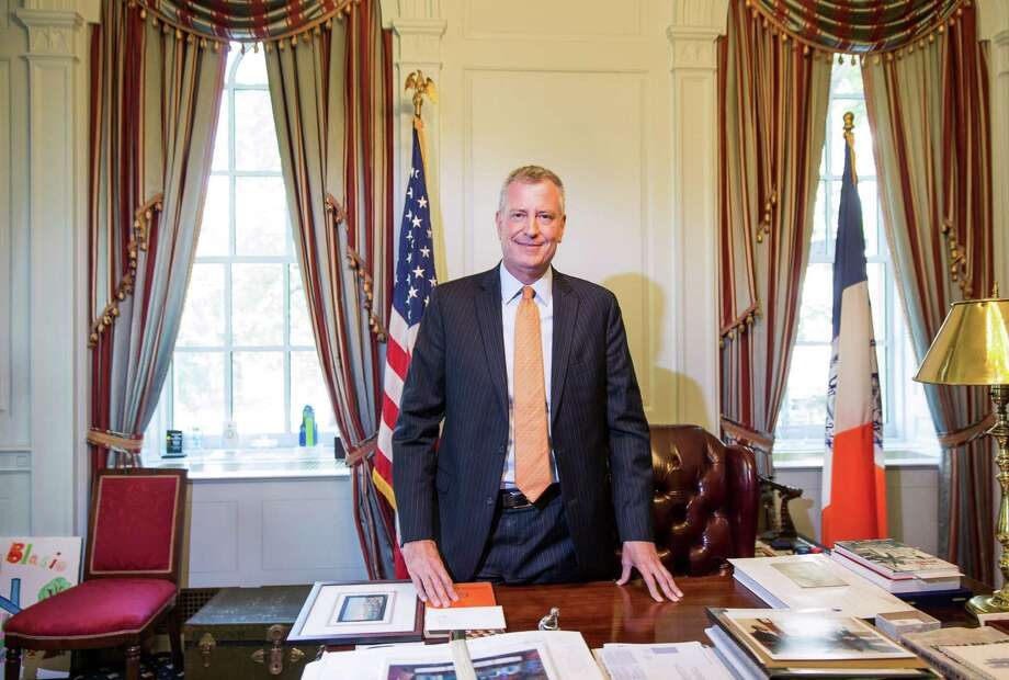 Mayor Bill de Blasio of New York, at his office in City Hall, Sept. 23, 2015. As he prepares to welcome Pope Francis to New York City, de Blasio is determined to harness the influence of a religious leader whose populism, he believes, has much in common with his own goals of combating inequality and injustice. (Damon Winter/The New York Times) ORG XMIT: XNYT244 Photo: DAMON WINTER / NYTNS