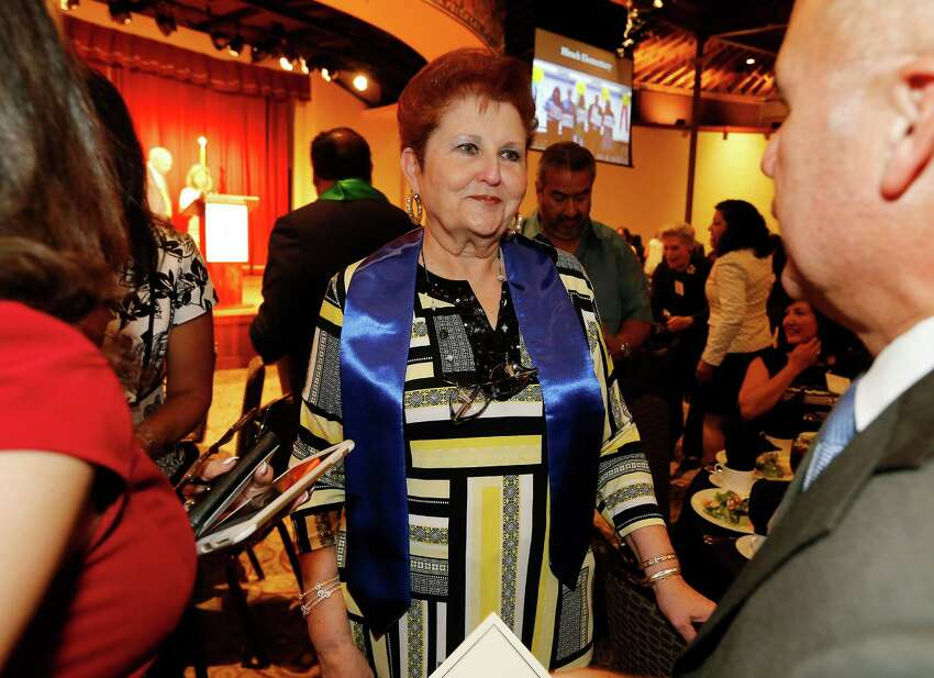 Retired Chief Justice of the U.S. Fourth Court of Appeals Alma L. Lopez-Cavazos (center) meets with guests at the 5th Annual Inspire Awards on Wednesday, Sept. 23, 2015. Lopez-Cavazos, an alumnus of Burbank High School, was honored with the Leadership Award by the San Antonio Independent School District Foundation. Along with the judge other notable honorees were broadcast journalist John Quinones - a Brackenridge High Alum - for the Service Award and the Bill Miller Family for the Excellence Award. The event was held at the Pearl Stable.