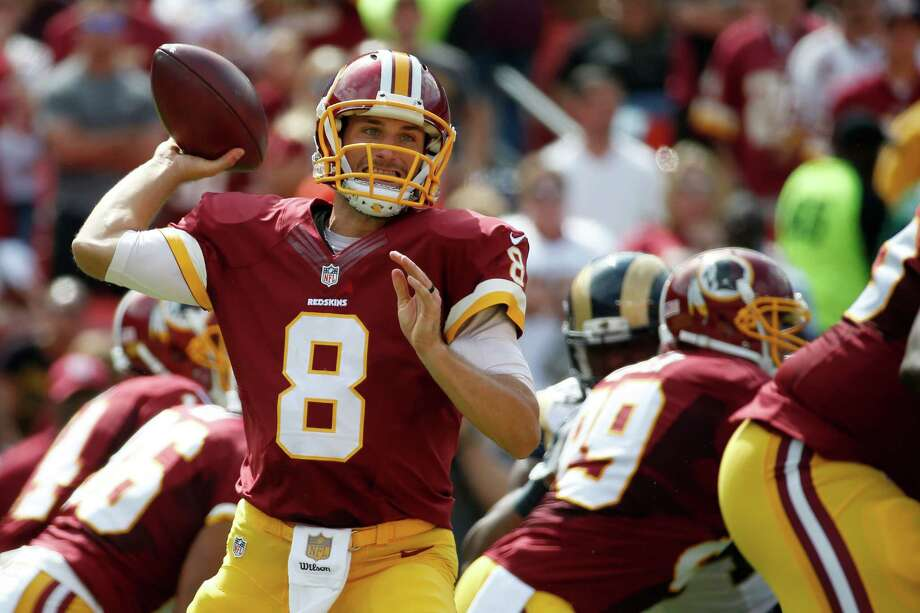 FILE - In this Sunday, Sept. 20, 2015, file phot, Washington Redskins quarterback Kirk Cousins (8) throws a pass during the first half of an NFL football game against the St. Louis Rams in Landover, Md. Successful on third downs, efficient as can be and, most importantly, avoiding turnovers Cousins is coming off a terrific performance for the Redskins as they head into Week 3 against the New York Giants. (AP Photo/Alex Brandon File) ORG XMIT: NY158 Photo: Alex Brandon / AP