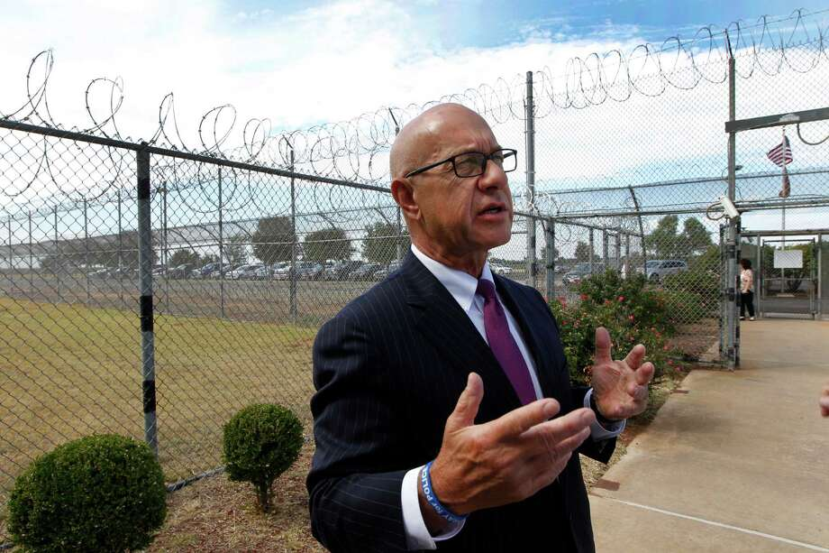 Senator John Whitmire  prepares to leave the razor wire and fenced in entrance to the Bill Clayton Center Wednesday, Sept. 23, 2015, in Littlefield. TCCO Exchange Board Chair Christy Jack is at left. The state's new home for sex predators, Billy Clayton Center, located in an isolated fly speck of a town in West Texas, looks more like a prison than a treatment center. There are complaints about too-tiny portions of food, lack of treatment programs and commissary, and the nowhere location - some which officials are working to correct, others which they cannot. Fact: After a two-year search, this was the only place the state could find to house them. Photo: Steve Gonzales, Houston Chronicle / © 2015 Houston Chronicle