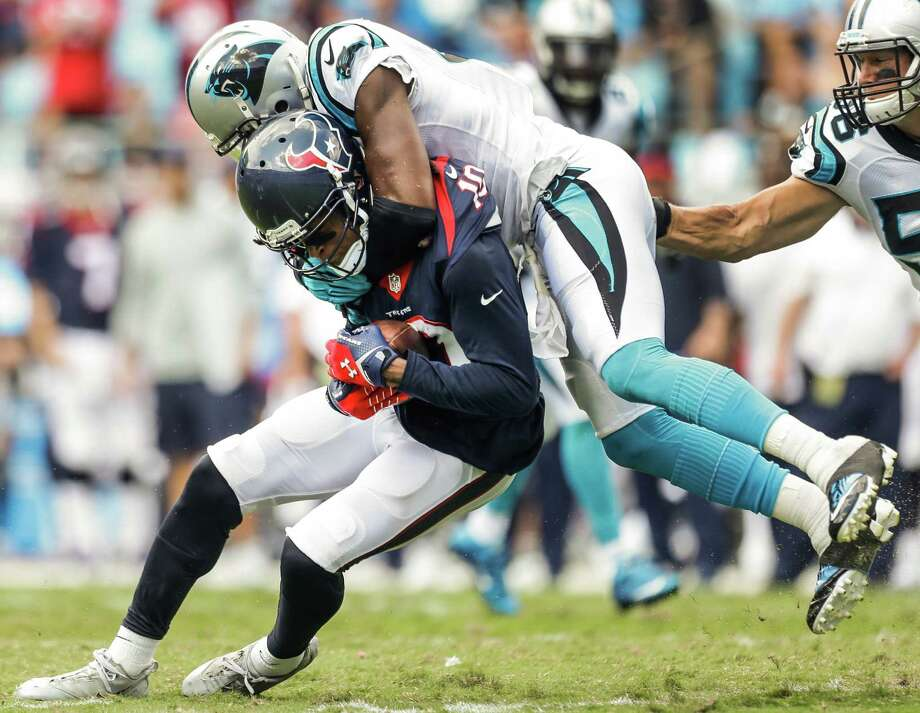 Texans wide receiver DeAndre Hopkins (10) sustained a concussion against the Panthers on Sunday and still must be cleared to play in Week 3. Photo: Brett Coomer, Staff / © 2015  Houston Chronicle