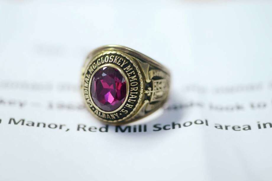 "A person found a 1968 Cardinal McCloskey class ring in September 2015 and sent it anonymously to the Times Union with a note saying it was found in Hampton Manor, East Greenbush, and urging the newspaper to find the owner. The initials ""MJP"" were engraved on the inside. The ring was reunited with Michael Panucci of Halfmoon, who vaguely remembered having the ring when he lived near Hampton Lake Town Park 30 years earlier. Read the article. Photo: Will Waldron / 10033479A"