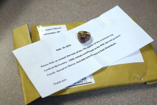 The 1968 Cardinal McCloskey class ring belonging to Michael Panucci Wednesday, Sept. 23, 2015, in Colonie, N.Y. An anonymous person found the ring and sent it to the Times Union in the hope that we could locate its rightful owner and return it to them. (Will Waldron/Times Union) Photo: Will Waldron / 10033479A