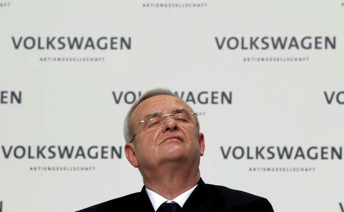 Then-Volkswagen CEO Martin Winterkorn attended the company's annual press conference in Wolfsburg, Germany in 2012. (AP Photo/Michael Sohn)