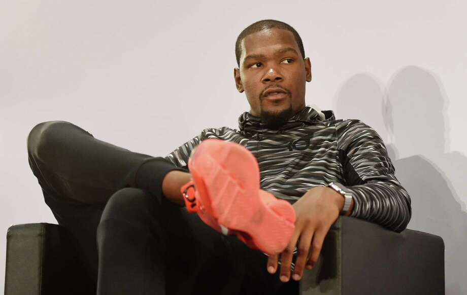 US basketball player Kevin Durant attends a press conference on September 6, 2015 in Paris. AFP PHOTO/ ALAIN JOCARDALAIN JOCARD/AFP/Getty Images Photo: ALAIN JOCARD, Staff / ALAIN JOCARD
