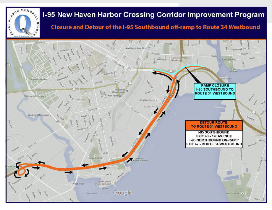 Detour from I-95 southbound to Route 34 in New Haven Photo: State Department Of Transportation