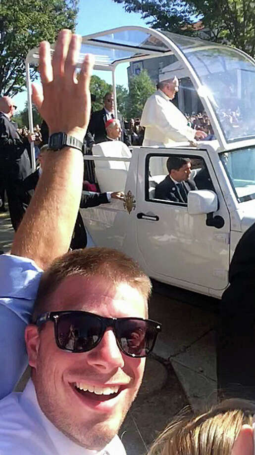 Tyler Lomnitizer of Trumbull takes a selfie with the Pope. Photo: Contributed Photo / Tyler Lomnitzer