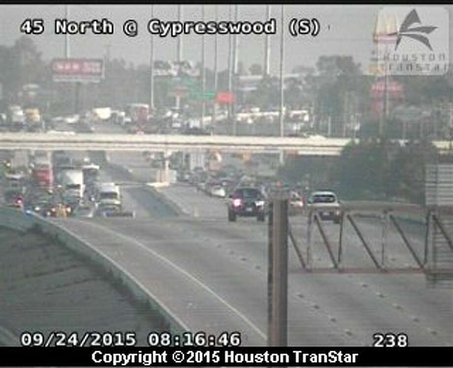 An early morning crash blocked traffic during rush hour on Interstate-45 near Cypresswood in north Harris County on Thursday, Sept. 24, 2015. Photo: Houston Transtar