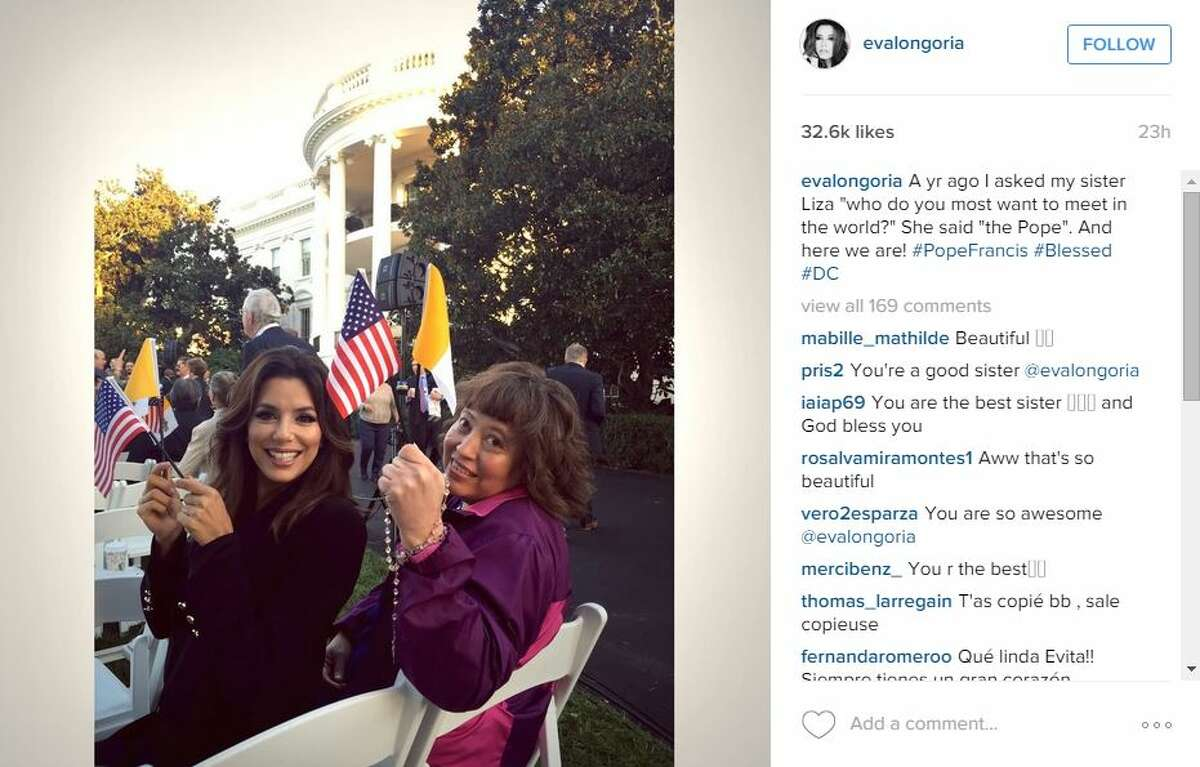 """""""A yr ago I asked my sister Liza """"who do you most want to meet in the world?"""" She said """"the Pope"""". And here we are! #PopeFrancis #Blessed #DC,"""" @evalongoria."""