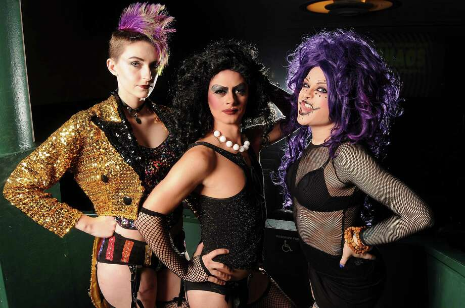 From left: Royal Mystic Order of CHAOS members Stevie Lange as Colombia, Jonny Lessard as Frank N. Furter and Amber Foss as Magenta  before a performance of the Rocky Horror Picture Show at the River Oaks Theatre Saturday Sept. 12,2015.(Dave Rossman photo) Photo: Dave Rossman, Freelance / Freelalnce