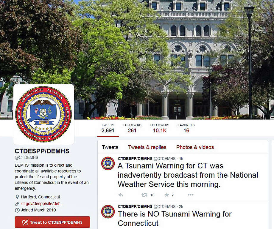 The Connecticut Department of Emergency Services and Public Protection tweeted on Thursday that the National Weather Service inadvertently broadcast a tsunami warning for Connecticut. Photo: DESPP / DESPP Via Twitter / Connecticut Post