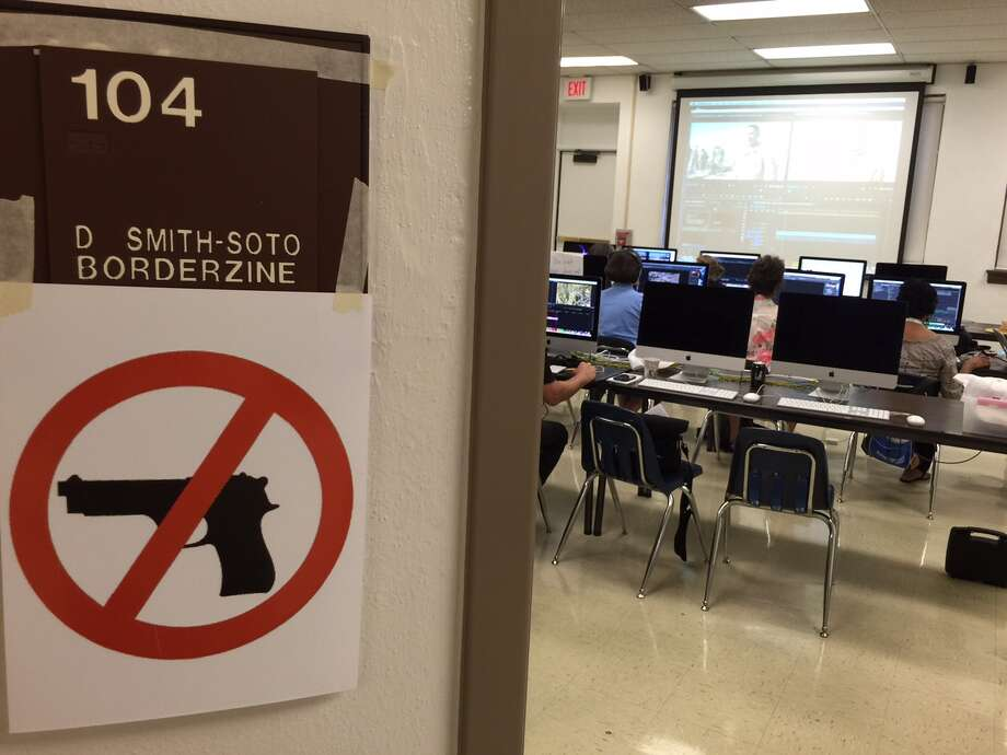 "University of Texas at El Paso professor David Smith-Soto hung this ""gun free zone"" sign outside his multimedia journalism classroom after Gov. Greg Abbott signed campus carry into law in June 2015. See some of the biggest myths and facts about gun control in Texas. Photo: David Smith-Soto Blog"
