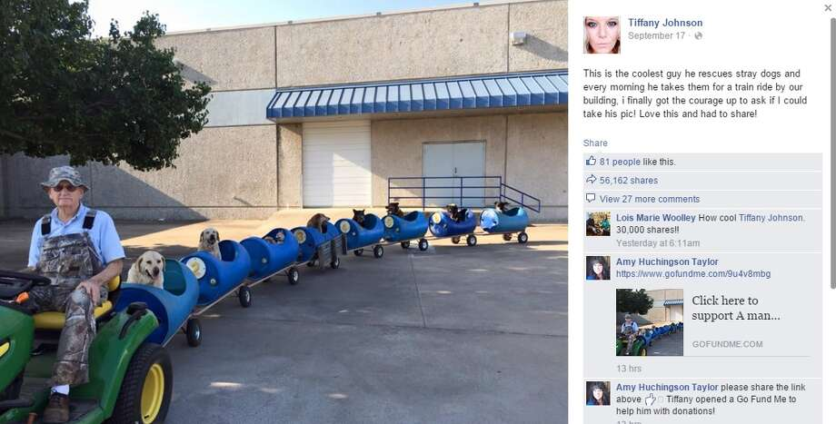 This Facebook screenshot shows Eugene Bostick, an 80-year-old retiree from Fort Worth, who decided to take his formerly homeless pups on a train ride throughout his neighborhood because he wanted to show them new scenery. Photo: Facebook Screenshots