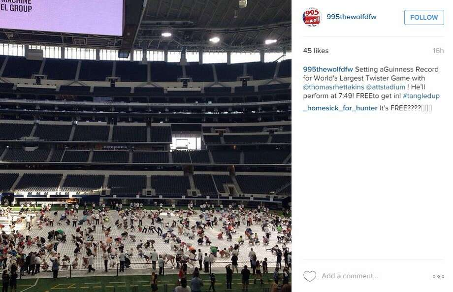 """Setting a Guinness Record for World's Largest Twister Game with @thomasrhettakins @attstadium ! He'll perform at 7:49! FREE to get in! #tangledup,"" @995thewolfdfw Photo: Mendoza, Madalyn S, Instagram"