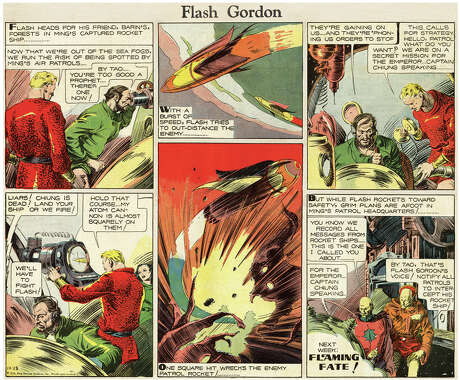 Flash Gordon (1934 – 2001) by Alex RaymondThe definitive space strip, Flash Gordon combined state-of-the-art science fiction with lush draftsmanship to produce a beloved classic that was made into radio, TV and movie series, as well as many reprint collections.