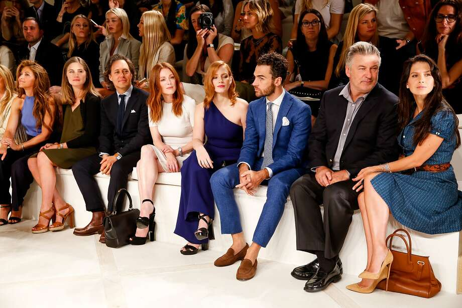Lauren Bush Lauren, David Lauren, Julianne Moore, Jessica Chastain, unidentified man, Alec and Hilaria Baldwin in the front row at the spring 2016 Ralph Lauren Fashion Show. Photo: David X Prutting/BFA.com, Ralph Lauren