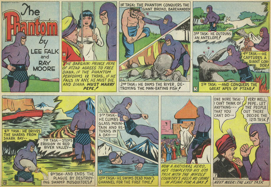 The Phantom (1936 – Present) created by Lee FalkThe stories of The Phantom span many generations in the ceaseless family quest to destroy piracy on the African coast. The Phantom remains one of the most popular adventure strips today.