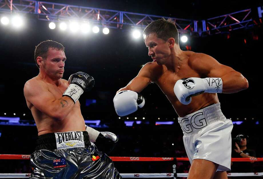 Gennady Golovkin punches Daniel Geale during the WBA/IBO middleweight championship bout at Madison Square Garden on July 26, 2014 in New York City. Photo: Mike Stobe /Getty Images / 2014 Getty Images