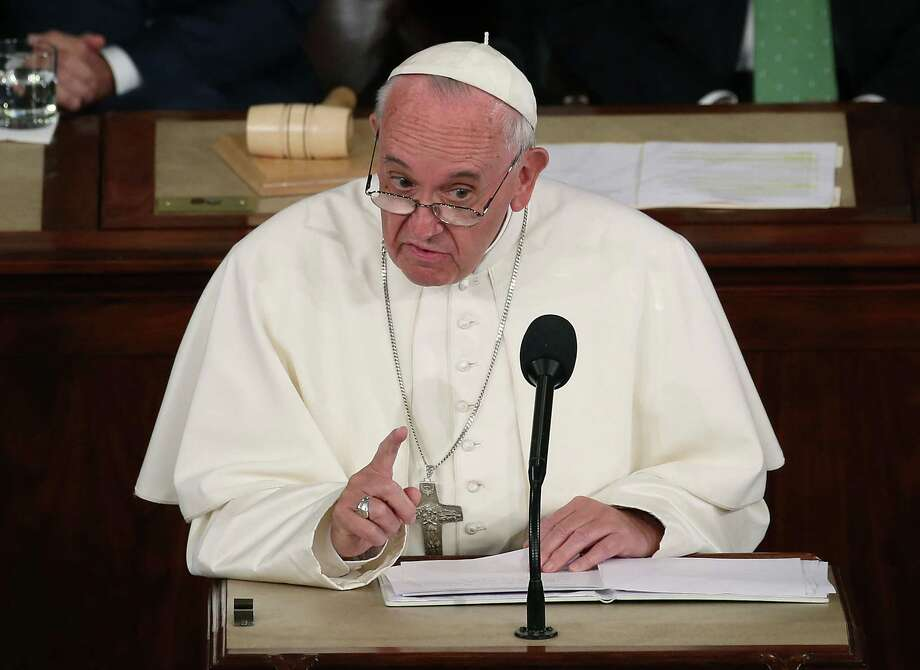 "Let's see. What ""common good"" will a government shutdown serve? Pope Francis addresses a joint meeting of the U.S. Congress in the House Chamber of the U.S. Capitol on Thursday. Pope Francis is the first pope to address a joint meeting of Congress. Photo: Mark Wilson /Getty Images / 2015 Getty Images"
