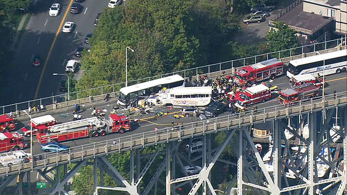 A Ride the Ducks duck boat collided with a charter bus on Aurora Bridge in central Seattle on Thursday Sept. 24, 2015. Latest from AP: NTSB: Duck boat in Seattle crash didn't have recommended fix