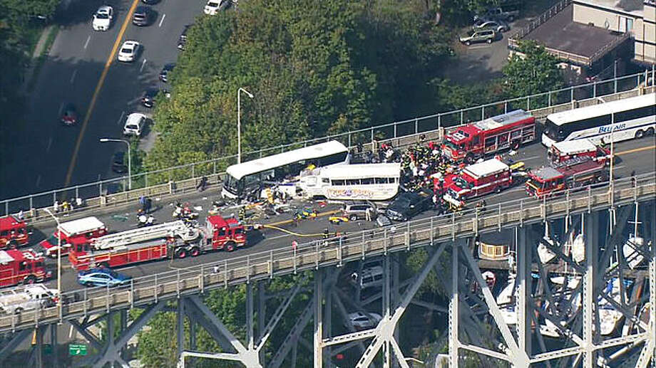 A Ride the Ducks duck boat collided with a charter bus on Aurora Bridge in central Seattle on Thursday Sept. 24, 2015.Latest from AP: NTSB: Duck boat in Seattle crash didn't have recommended fix Photo: KOMO