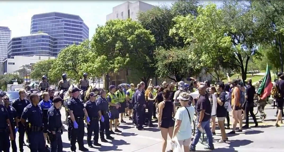 Video shows how Austin police shut down a Black Lives Matter protest on a city street on September 19. Video used with permission from The Peaceful Streets Project