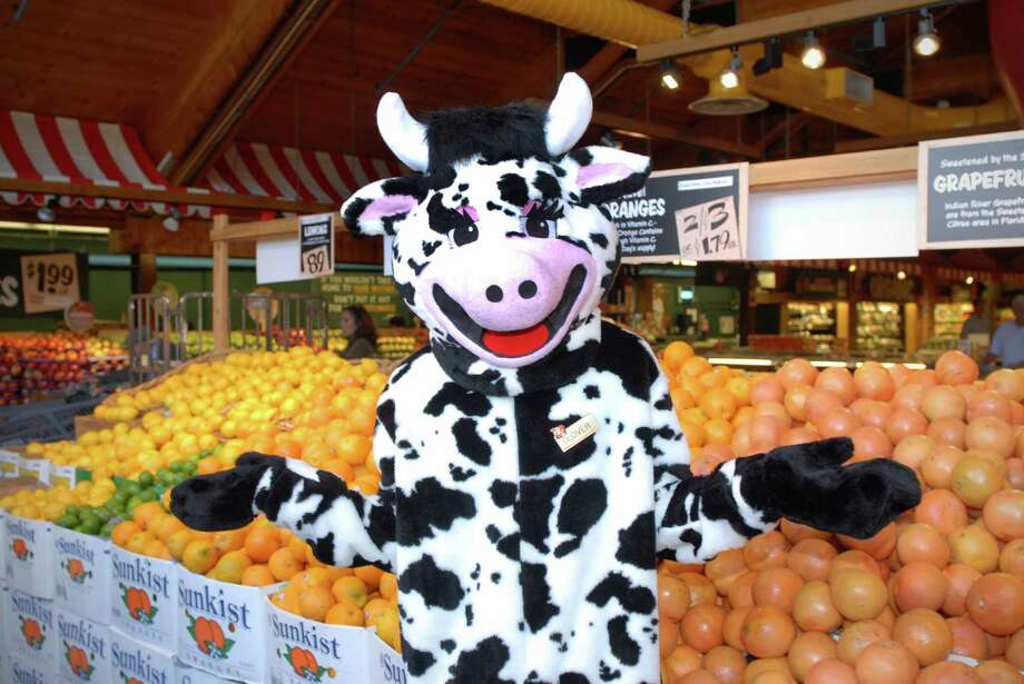 "In this file photo, Billy Reyes wears the ""Clover"" cow costume at Stew Leonard's in Norwalk, Conn. Human resource managers say that companies like Stew's foster a positive working environment that makes workers feel valued. Photo: Dru Nadler / Dru Nadler / Stamford Advocate Freelance"