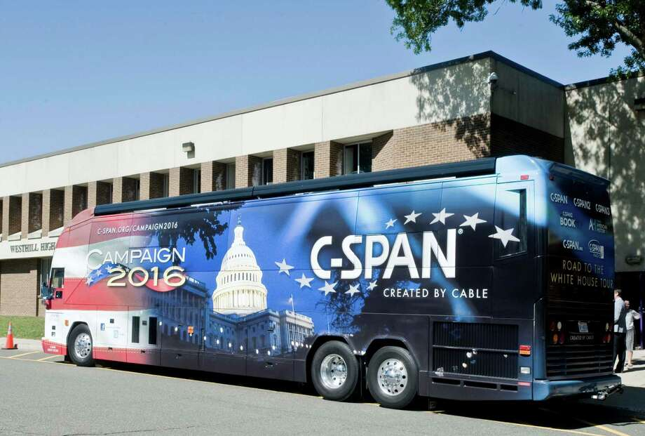 The CSPAN bus awaits students for a tour at West Hill High School in Stamford. Thursday, Sept. 24, 2015 Photo: Scott Mullin / For The / The News-Times Freelance
