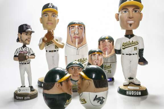 Bobble heads, wobble dolls, and nesting dolls of Barry Zito, Tim Hudson and other Oakland Athletics are seen on Thursday, Sept. 24, 2015 in San Francisco, Calif.